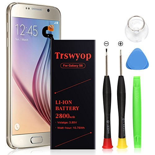 Galaxy S6 Battery  Trswyop 2800Mah Li Polymer Internal Replacement Battery For Samsung Galaxy S6 G920a G920p G920t G920v With Tool Kit  24 Month Warranty
