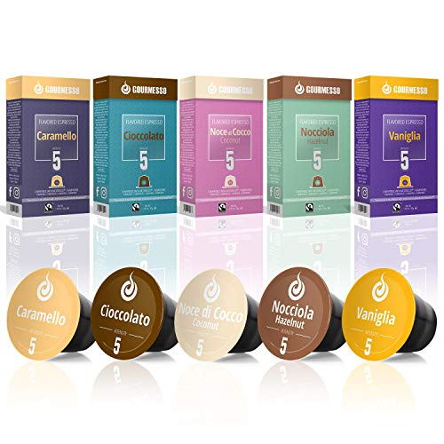 50 Fairtrade Flavored Coffee Capsules Compatible with Original Nespresso Machines | Flavored Coffee Pods for Nespresso Machines - Gourmesso Flavor Bundle