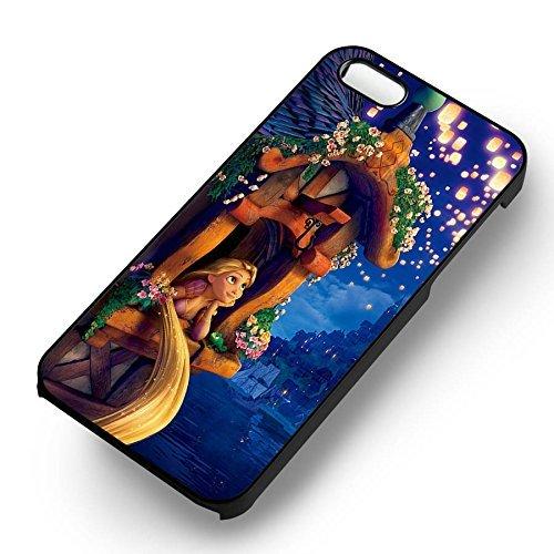 Disney Princess Tangled pour Coque Iphone 6 et Coque Iphone 6s Case (Noir Boîtier en plastique dur) K5E5CP