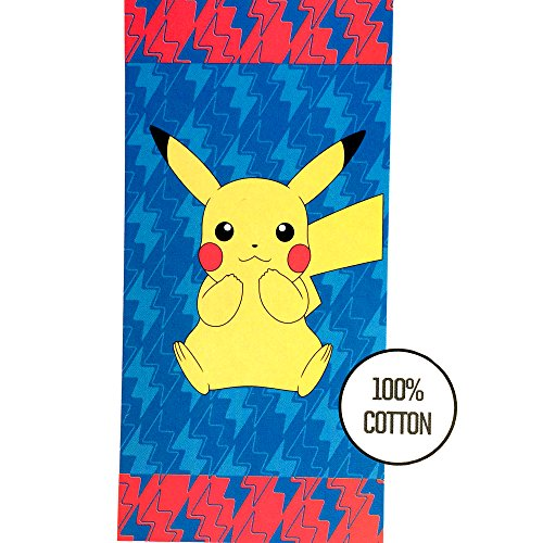 Pokemon Beach Towel 58 X 28 Inches | Summer Beach & Pool Towel 100% Soft Cotton Fabric | Pokemon Featuring Pikachu Character Beach Towel (Pokemon)