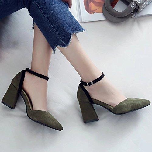 AIYOUMEI Damen Knöchelriemchen Pumps mit 6cm Absatz und Schnalle Blockabsatz High Heels Grün