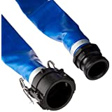 "Apache 98138049 2"" x 50' Blue PVC Lay-Flat Discharge Hose with Poly Cam Lock Fittings"