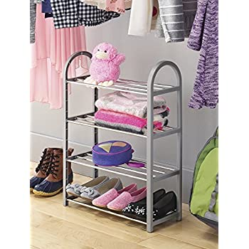 Whitmor Compact Closet Shelves, Plastic, Gray