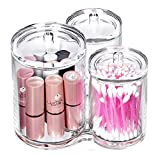 bathroom container storage - VAMIX Clear Cotton Ball and Swab Holder Organizer Storage Box- Premium Quality Acrylic Round Container Makeup Pads Swab Holder Case (transparent Style 3)