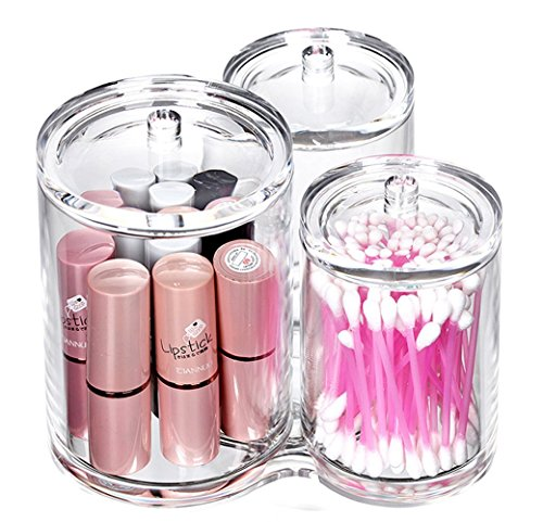 VAMIX Clear Cotton Ball and Swab Holder Organizer Storage Box- Premium Quality Acrylic Round Container Makeup Pads Swab Holder Case (transparent Style 3)