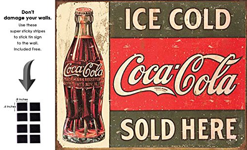 (Shop72- Tin Signs Ice Cold Coke Coca Cola Retro Tin Sign Vintage Tin)