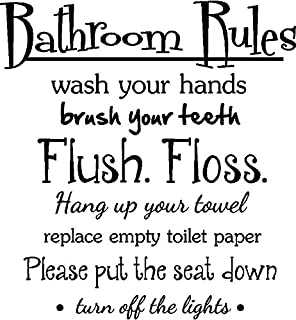 Amazoncom Bathroom Rules Vinyl Decal Wall Art Words Sticker - How do you put up wall art stickers
