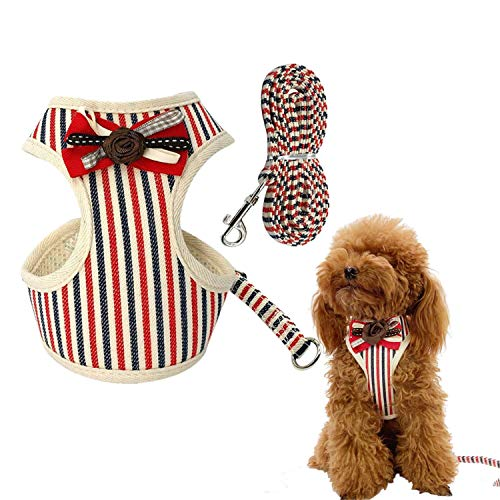 Vehomy Small Dog Harness Leash Set - England Style Stripe Pet Harness Soft Mesh Nylon Vest Puppy Small Medium Dogs Cats Red XL ()