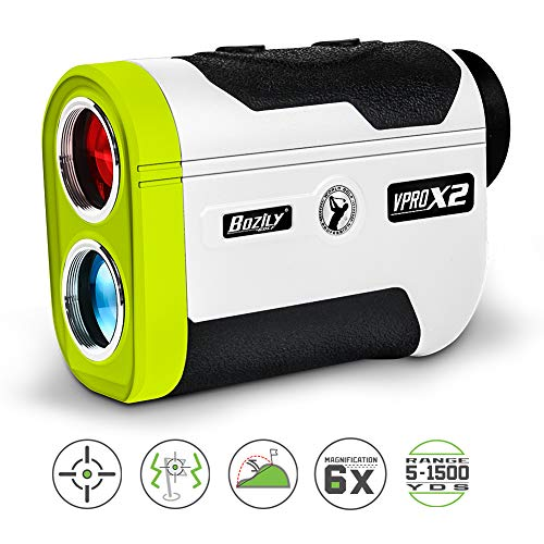 Bozily Golf Rangefinder, 6X Laser Range Finder 1500 Yards, Flag-Lock, Slope ON/Off, 4 Scan Mode, Linear & Vertical Distance, Angle & Speed Measurement,Fog Resistant- Tournament Legal Golf Rangefinder ()