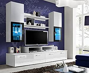 TOLEDO Entertainment Center with multicolor LED system and remote control/Modern Design Wall Unit for contemporary homes (White)