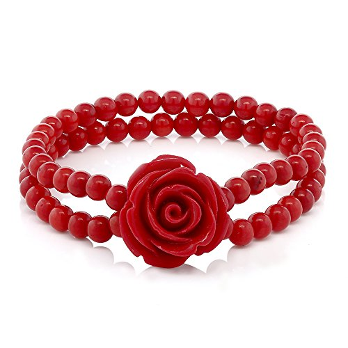 Gem Stone King 7 Inch Red Simulated Coral Bead Rose Flower Stretch Bracelet 5mm