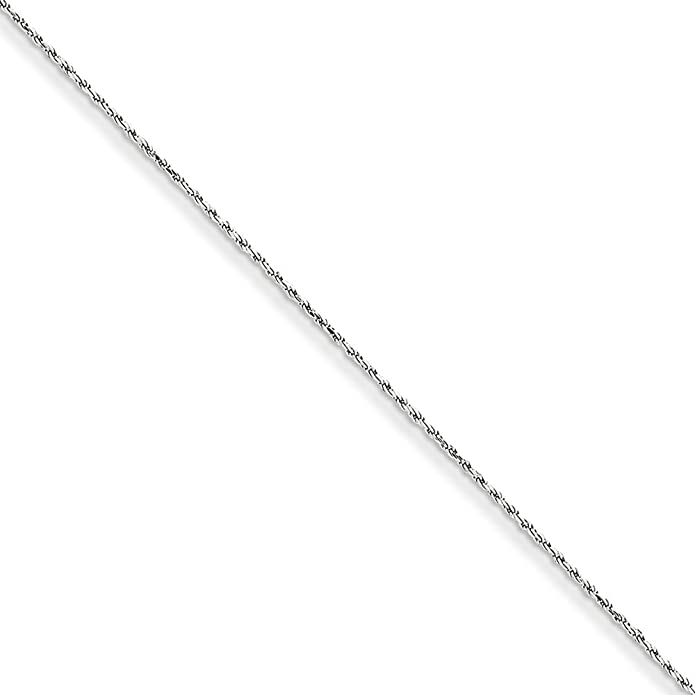 Jewels By Lux 14k White Gold 1.15mm Machine-made Rope Chain Anklet