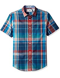 Original Penguin Men's Short Sleeve Roadmap Plaid Lawn