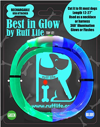 Ruff Life. Best in Glow Dog Collar - 2 Color Rechargeable LED Safety Light, Night Walking, Dog Collar, Necklace, Glowing, Fashion Light up Collar for Small Medium Large Dogs