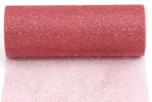 Kel-Toy Glitter Tulle Fabric, 6-Inch by 25-Yard, Colonial Rose