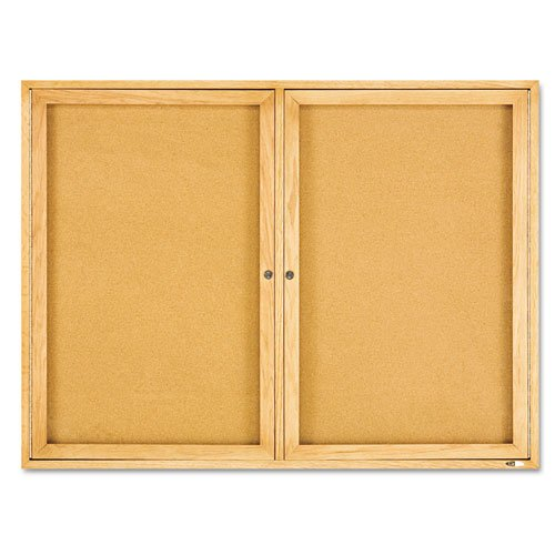 Quartet Enclosed Bulletin Board, Natural Cork/Fiberboard, 48 x 36, Oak Frame