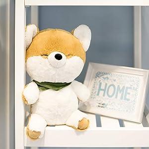 "FRANKIEZHOU Plush Toy Stuffed Dog Animal 10"" Original Design Kawaii Shiba Inu Puppy Dog Light Brown Blink Eyes for Kids All-Original Design"