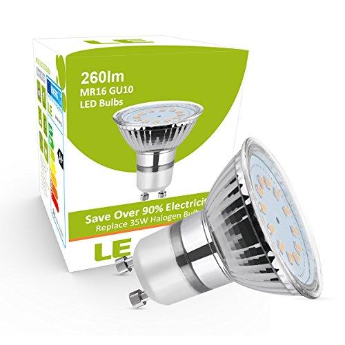 19 99 54 le lot de 5 ampoules led gu10 25w mr16 quivalent ampoule halogne 35w 260lm blanc. Black Bedroom Furniture Sets. Home Design Ideas
