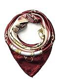 YOUR SMILE Silk Like Scarf Women's Fashion Pattern Large Square Satin Headscarf Headdress (7)