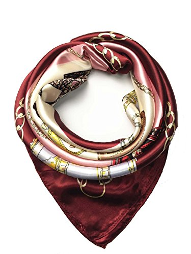 YOUR SMILE Silk Like Scarf Women's Fashion Pattern Large Square Satin Headscarf Headdress - Pattern Scarf Set