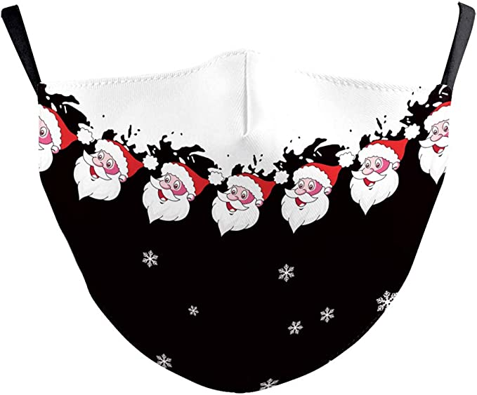 Eboutik Weihnachts Gesichtsmaske Mit Filterschlitz Wiederverwendbar Waschbar Atmungsaktiv Gesichtsbedeckungen Jolly Santa S Auto