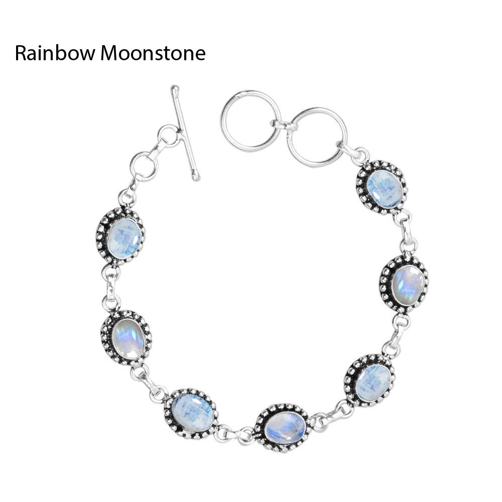 925 Silver Plated 8.15ct,Genuine Rainbow Moonstone Bracelet