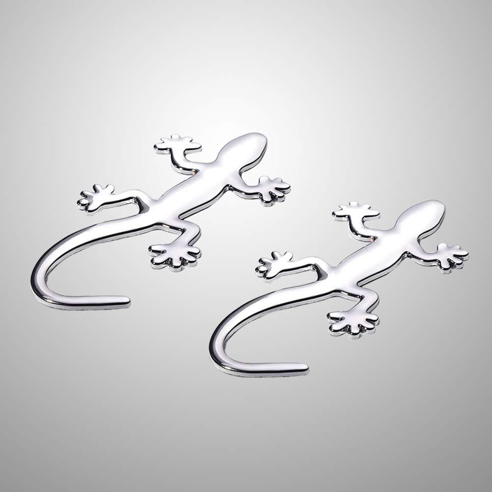 Plata Vosarea Gecko Etiqueta engomada de la Etiqueta del Coche de Metal 3D decoraci/ón para Puerta Bonnet 2pcs