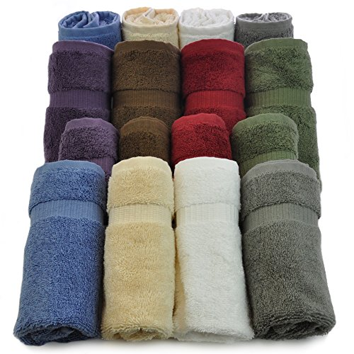 Luxury Hotel & Spa Towel Turkish Cotton (Wash Cloth - Set of 12, Variety Pack)