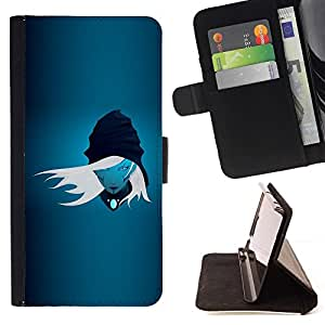 DEVIL CASE - FOR Sony Xperia Z1 L39 - Blue Girl - Style PU Leather Case Wallet Flip Stand Flap Closure Cover