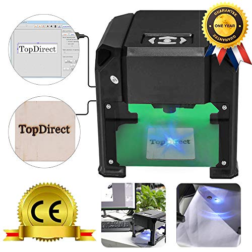 TopDirect 3000mw Laser Engraving Machine Mini Laser Engraver Printer CE Approved Working Area 7.5X7.5CM for DIY Logo Marking with ()
