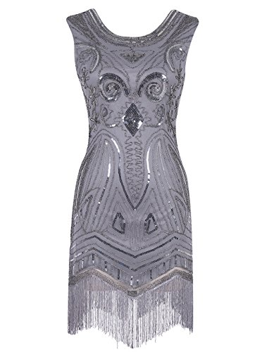 Dress Cheap Flapper (Emust Women's 1920s Gatsby Art Deco Sequined Embellishment Fringed Flapper Dress Grey Size)