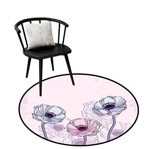 Modern Rugs Anemone Flower,Retro Grunge Display with Graphic Anemone Field Buds Leaves,Light Pink Lilac Baby Blue,Floor Rug Shoe Scraper Door Mat Rug 20