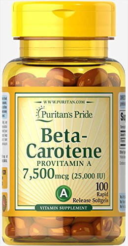 Puritans Pride Betacarotene 25000 Iu 100 Softgels, 100 Count