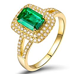 Yellow Gold With Vintage Green Emerald Ring