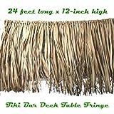 Tropical Luau Decoration REAL RAFFIA DECK FRINGE GARLAND Tiki Bar Grass Thatch