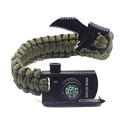 RNS STAR Paracord Survival Bracelet 500 LB - Hiking Gear Travelling Camping  Gear - Parachute Rope Bracelet eb50362bb4f