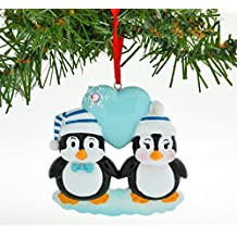 Grantwood Technology Personalized Christmas Ornament Penguin Blue Couple with Heart Snowflake/Personalized by Santa/Personalized Couple Christmas Ornament/Couple Christmas Ornament
