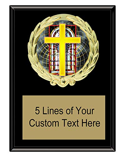 Express Medals 5x7 Black Color Religious Cross Plaque Award Trophy with Engraved Plate FCL528