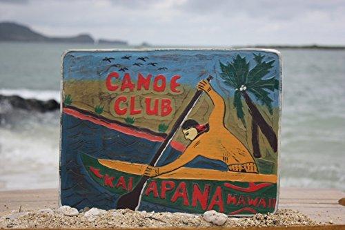 """CANOE CLUB, KALAPANA HAWAII"" VINTAGE OUTRIGGER CANOE SIGN - 16"" - MADE IN HAWAII"