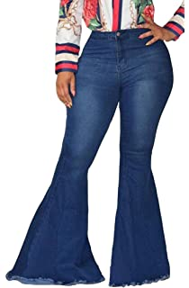 50c04cf58019 EVEDESIGN Women's High Waist Bootcut Flared Jeans Bell Bottom Flared Jeans  Plus Size