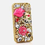 iPhone 6S PLUS Bling Case, iPhone 6 PLUS Case - LUXADDICTION® [Premium Quality] 3D Handmade Crystallized Bling Case Swarovski Crystals Diamond Sparkle Golden Skull Cover