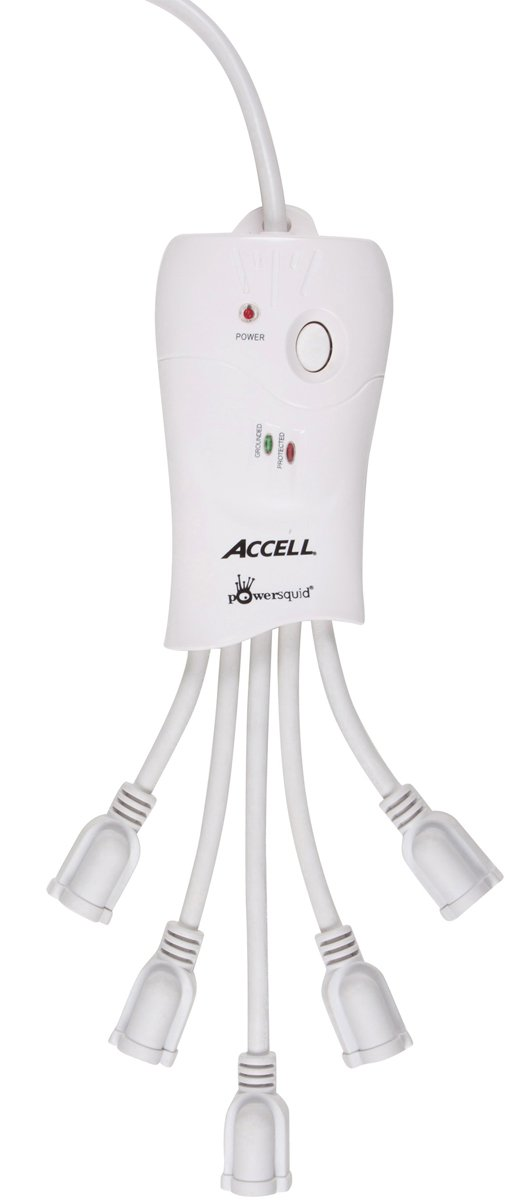 Accell PowerSquid Surge Protector Power Strip - White - 5 Outlets, 6-Foot Cord, 600 Joules, ETL Listed