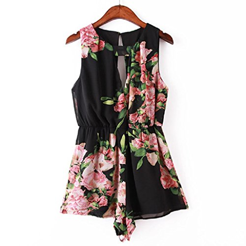 Women's Floral Chiffon Jumpsuit; Mosunx(TM) Sleeveless Backless Jumpsuit Short Pant (S, Black)