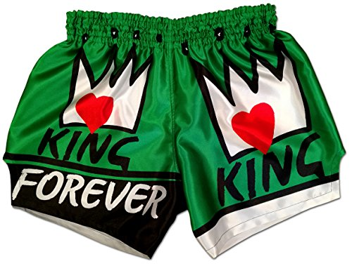 Muay Thai Shorts Kickboxing Martial Arts Combat Fight MMA UFC Boxer Boxing Trunks (M, King Forever (Green)) ()