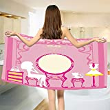 smallbeefly Girls Bath Towel Lady Sitting in Front of French Cosmetic Make Up Mirror Furniture Dressy Design Bathroom Towels Pink Yellow Size: W 31.5'' x L 78''