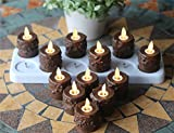 Primitive Tealight Candles with Moving Wick Flame, Remote Control, Timer & Charging Plate, Pack of 12