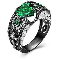 LALISA Heart Shape Green Emerald Black Gold Filled Angel Wings Women Wedding Ring Gift (6)