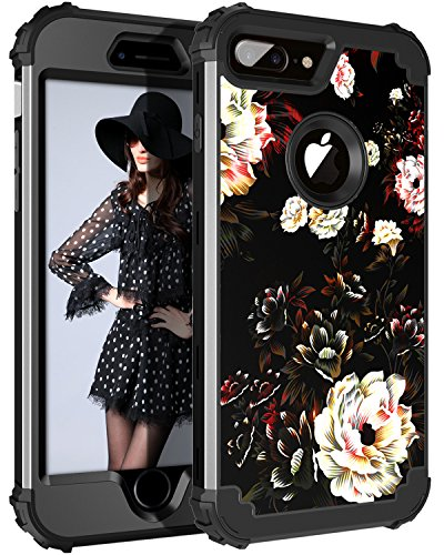 Lontect Compatible iPhone 8 Plus Case Floral 3 in 1 Heavy Duty Hybrid Sturdy Armor High Impact Shockproof Protective Cover Case for Apple iPhone 8 Plus/iPhone 7 Plus - Flower/Black