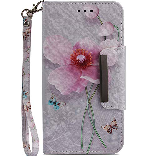iPhone XR Case, Ranyi Magnetic Clasp Wallet Lovely Painting Pattern [with Hand Strap] Kickstand Feature Premium PU Leather Flip Folio Wallet Defender Case for Apple 6.1 iPhone XR (2018), Flower