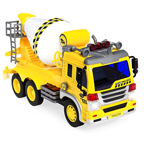 Best Choice Products 1/16 Scale Friction Powered Toy Cement Mixer Truck w/ Lights and Sound (Yellow)